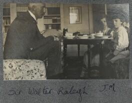 Sir Walter Alexander Raleigh; Julian Vinogradoff (née Morrell) and an unknown boy, by Lady Ottoline Morrell - NPG Ax140330