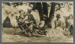 Sir Walter Alexander Raleigh; Lytton Strachey; Lady Ottoline Morrell and three unknown sitters, by Unknown photographer - NPG Ax140332
