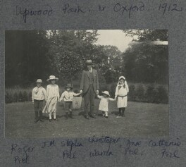 John Frederic Roger Peel; Julian Vinogradoff (née Morrell); Stephen Wynter Peel; Christopher P. Warren; Anne Peel; Catherine Emma Eastwood (née Peel), by Lady Ottoline Morrell - NPG Ax140408