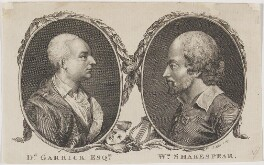 David Garrick; William Shakespeare, by John Sebastian Miller (formerly Johann Sebastian Müller) - NPG D20571
