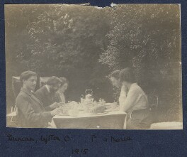 Duncan Grant; Lytton Strachey; Lady Ottoline Morrell; Philip Edward Morrell; Maria Huxley (née Nys), by Unknown photographer - NPG Ax140433