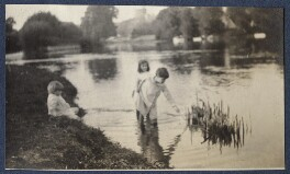 Three unknown children playing in the river Thames, by Lady Ottoline Morrell - NPG Ax140484