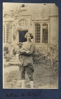 Dorothy Brett with Lady Ottoline Morrell's pug Soie, by Lady Ottoline Morrell - NPG Ax140492