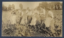 Gerald Frank Shove; Clive Bell and farm workers, by Lady Ottoline Morrell - NPG Ax140513