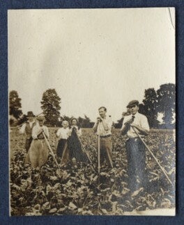 Clive Bell; Gerald Frank Shove and farm workers, by Lady Ottoline Morrell - NPG Ax140514