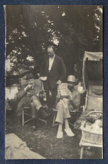 Sir John Tresidder Sheppard; Clive Bell; Lytton Strachey, by Lady Ottoline Morrell - NPG Ax140550