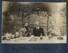 Lytton Strachey; Bertrand Arthur William Russell, 3rd Earl Russell; Philip Edward Morrell, by Lady Ottoline Morrell - NPG Ax140630
