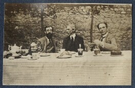 Lytton Strachey; Bertrand Arthur William Russell, 3rd Earl Russell; Philip Edward Morrell, by Lady Ottoline Morrell - NPG Ax140632
