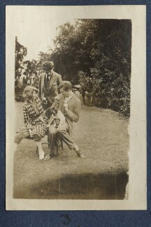 Dorothy Brett; Mark Gertler; Aldous Huxley with Lady Ottoline Morrell's pug Soie, by Lady Ottoline Morrell - NPG Ax140687