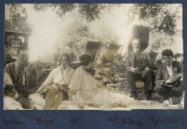 Geoffrey Nelson; Dorothy Brett; Lady Ottoline Morrell; Mr Blay; Mark Gertler, by Unknown photographer, 1919 - NPG Ax140698 - © National Portrait Gallery, London
