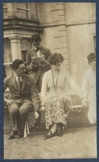 Sir Osmond Thomas Esmonde, 12th Bt; Evan Morgan, 2nd Viscount Tredegar; Lois Ina (née Sturt), Viscountess Tredegar, by Lady Ottoline Morrell - NPG Ax140726