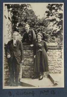 Edmund Blunden; Edward George Downing Liveing; Mary Blunden (née Daines), by Lady Ottoline Morrell - NPG Ax140773
