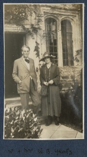 W.B. Yeats; Bertha Georgie Yeats (née Hyde-Lees), by Lady Ottoline Morrell, September 1920 - NPG Ax140879 - © National Portrait Gallery, London