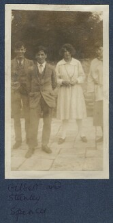 Gilbert Spencer; Sir Stanley Spencer; Julian Vinogradoff (née Morrell); Judith Masefield, by Lady Ottoline Morrell, 1920 - NPG Ax140913 - © National Portrait Gallery, London