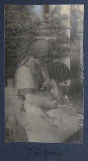 Julian Vinogradoff (née Morrell) with her pug Soie, by Lady Ottoline Morrell - NPG Ax141220