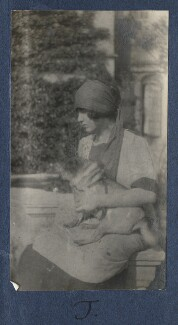 Julian Vinogradoff (née Morrell) with her pug Soie, by Lady Ottoline Morrell - NPG Ax141222