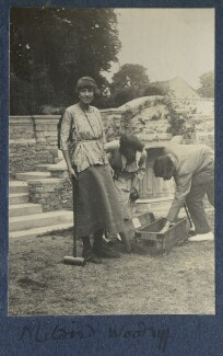 Mildred Woodruff; Julian Vinogradoff (née Morrell); Frank James Prewett, by Lady Ottoline Morrell - NPG Ax141229
