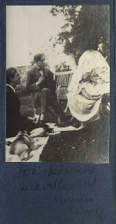 Lord David Cecil; Edward Sackville-West, 5th Baron Sackville; Virginia Woolf; Lytton Strachey, by Lady Ottoline Morrell - NPG Ax141312