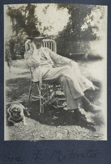 E.M. Forster with Lady Ottoline Morell's pug Soie, by Lady Ottoline Morrell - NPG Ax141328