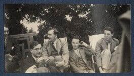 Jean de Menasce; L.P. Hartley; Sylvester Govett Gates; Bob Gathorne-Hardy and an unknown man, by Lady Ottoline Morrell - NPG Ax141395