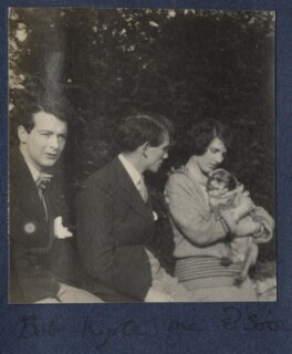 Bob Gathorne-Hardy; Kyrle Leng; Julian Vinogradoff (née Morrell) with her pug Soie, by Lady Ottoline Morrell - NPG Ax141490