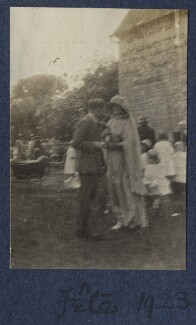 Fête (Lady Ottoline Morrell and an unknown man), by Unknown photographer - NPG Ax141534