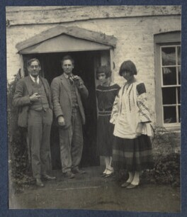 Oliver Strachey; Ralph Partridge; Frances Partridge; Dora Carrington, by Lady Ottoline Morrell - NPG Ax141541