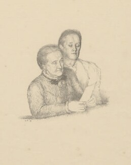The Misses Gaskell (Margaret Emily Gaskell; Julia Bradford Gaskell), by William Rothenstein - NPG D20891