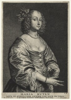 Mary (née Ruthven), Lady van Dyck, by Schelte Bolswert, published by  Gillis Hendricx, after  Sir Anthony van Dyck - NPG D20905