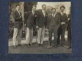 William Henry Smith, 3rd Viscount Hambleden; Kyrle Leng; Peter Ralli; Sir Maurice Bowra; Sylvester Govett Gates, by Lady Ottoline Morrell - NPG Ax141550