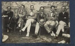 John Pilley; Kyrle Leng; L.P. Hartley; Peter Ralli; Bob Gathorne-Hardy; Jean de Menasce, by Lady Ottoline Morrell - NPG Ax141552