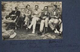 Gilbert Spencer; John Pilley; Kyrle Leng; L.P. Hartley; Peter Ralli; Bob Gathorne-Hardy, by Lady Ottoline Morrell - NPG Ax141585