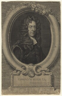 Edmund Waller, by George Vertue, after  Sir Godfrey Kneller, Bt - NPG D20962