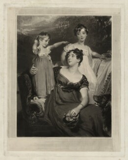 Lady Acland (Arthur Henry Dyke Acland; Lydia Elizabeth (née Hoare), Lady Acland; Sir Thomas Dyke Acland, 11th Bt), by Samuel Cousins, after  Sir Thomas Lawrence, 1826 (1818) - NPG D7158 - © National Portrait Gallery, London