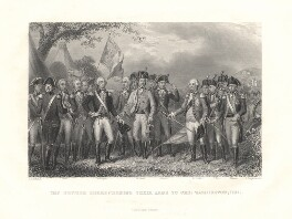 The British Surrendering their Arms to Gen. Washington, 1781, by James Stephenson, after  J.F. Renault, circa 1860 - NPG D2212 - © National Portrait Gallery, London