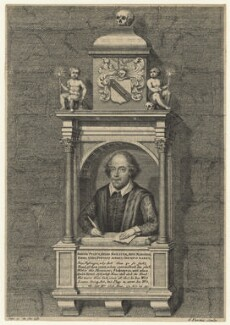 Monument to William Shakespeare in Holy Trinity Church, Stratford-upon-Avon, by George Vertue, after  Gerard Johnson, circa 1700-1750 (circa 1620) - NPG D21013 - © National Portrait Gallery, London