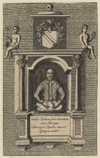 Monument to William Shakespeare in Holy Trinity Church, Stratford-upon-Avon, after Gerard Johnson, published 1709 (circa 1620) - NPG D21014 - © National Portrait Gallery, London