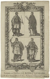 Portraits and Dresses of the Kings of England, (with their Arms), prior to the Norman Conquest Plate 4, by J.G. Wooding, after  Hamilton - NPG D8867
