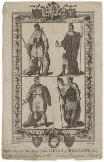 Portraits and Dresses of the Kings of England, (with their Arms), prior to the Norman Conquest Plate 6, by John Goldar, after  Hamilton - NPG D8868