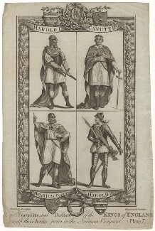 Portraits and Dresses of the Kings of England, (with their Arms), prior to the Norman Conquest Plate 4, by J.G. Wooding, after  Hamilton - NPG D8869