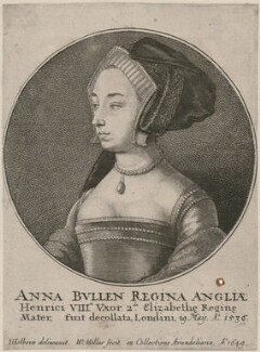 Unknown woman formerly known as Anne Boleyn, by Wenceslaus Hollar, after  Hans Holbein the Younger, 1649 - NPG D21018 - © National Portrait Gallery, London