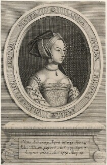 Unknown woman formerly known as Anne Boleyn, probably by Robert White, after  Hans Holbein the Younger - NPG D21021