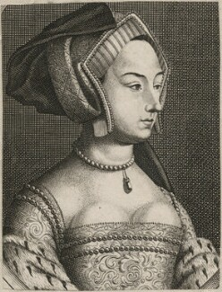Unknown woman formerly known as Anne Boleyn, probably by Robert White, after  Hans Holbein the Younger, published 1681? - NPG D21020 - © National Portrait Gallery, London
