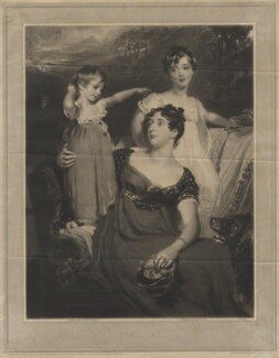 Lady Acland (Arthur Henry Dyke Acland; Lydia Elizabeth (née Hoare), Lady Acland; Sir Thomas Dyke Acland, 11th Bt), by Samuel Cousins, after  Sir Thomas Lawrence - NPG D21102