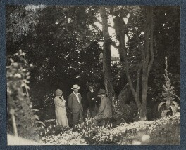 Mark Gertler; Walter James Redfern Turner; Herbert Henry Asquith, 1st Earl of Oxford and Asquith and an unknown woman, by Lady Ottoline Morrell - NPG Ax142209