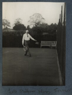 'Lord Balfour playing tennis' (Arthur James Balfour, 1st Earl of Balfour), by Lady Ottoline Morrell - NPG Ax142320
