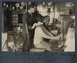 Bob Gathorne-Hardy; Julian Vinogradoff (née Morrell); L.P. Hartley, by Lady Ottoline Morrell - NPG Ax142384