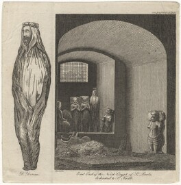 Funeral effigy of John Donne, by James Peller Malcolm, published 1820 - NPG D21118 - © National Portrait Gallery, London