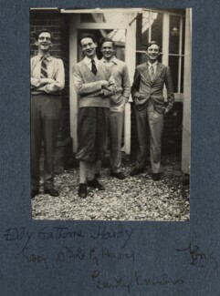 Eddie Gathorne-Hardy; Bob Gathorne-Hardy; Eardley Knollys and an unknown man, by Lady Ottoline Morrell - NPG Ax142501