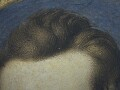 Detail of the sitter's hair.